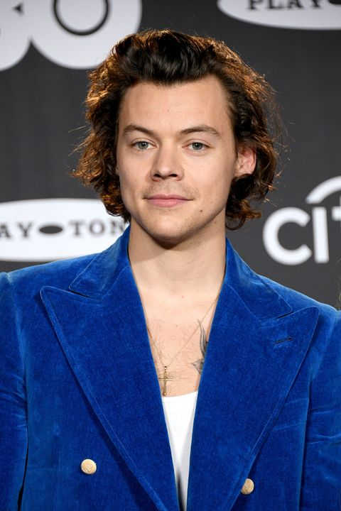 new york, new york   march 29 harry styles attends the 2019 rock  roll hall of fame induction ceremony   press room at barclays center on march 29, 2019 in new york city photo by dia dipasupilfilmmagic