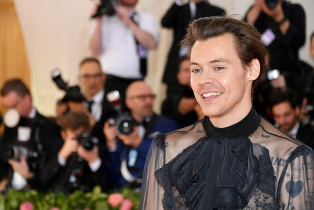new york, new york   may 06 harry styles attends the 2019 met gala celebrating camp notes on fashion at metropolitan museum of art on may 06, 2019 in new york city photo by dia dipasupilfilmmagic