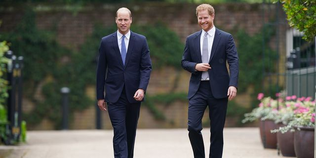 london, england   july 01 prince william, duke of cambridge left and prince harry, duke of sussex arrive for the unveiling of a statue they commissioned of their mother diana, princess of wales, in the sunken garden at kensington palace, on what would have been her 60th birthday on july 1, 2021 in london, england today would have been the 60th birthday of princess diana, who died in 1997 at a ceremony here today, her sons prince william and prince harry, the duke of cambridge and the duke of sussex respectively, will unveil a statue in her memory photo by yui mok   wpa poolgetty images