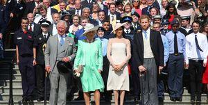 Prins Harry, Meghan Markle, Prins Charles, Camilla Parker Bowles, garden party, eerste uitje, getrouwd stel, verjaardag, 70, jurk, pda, lief