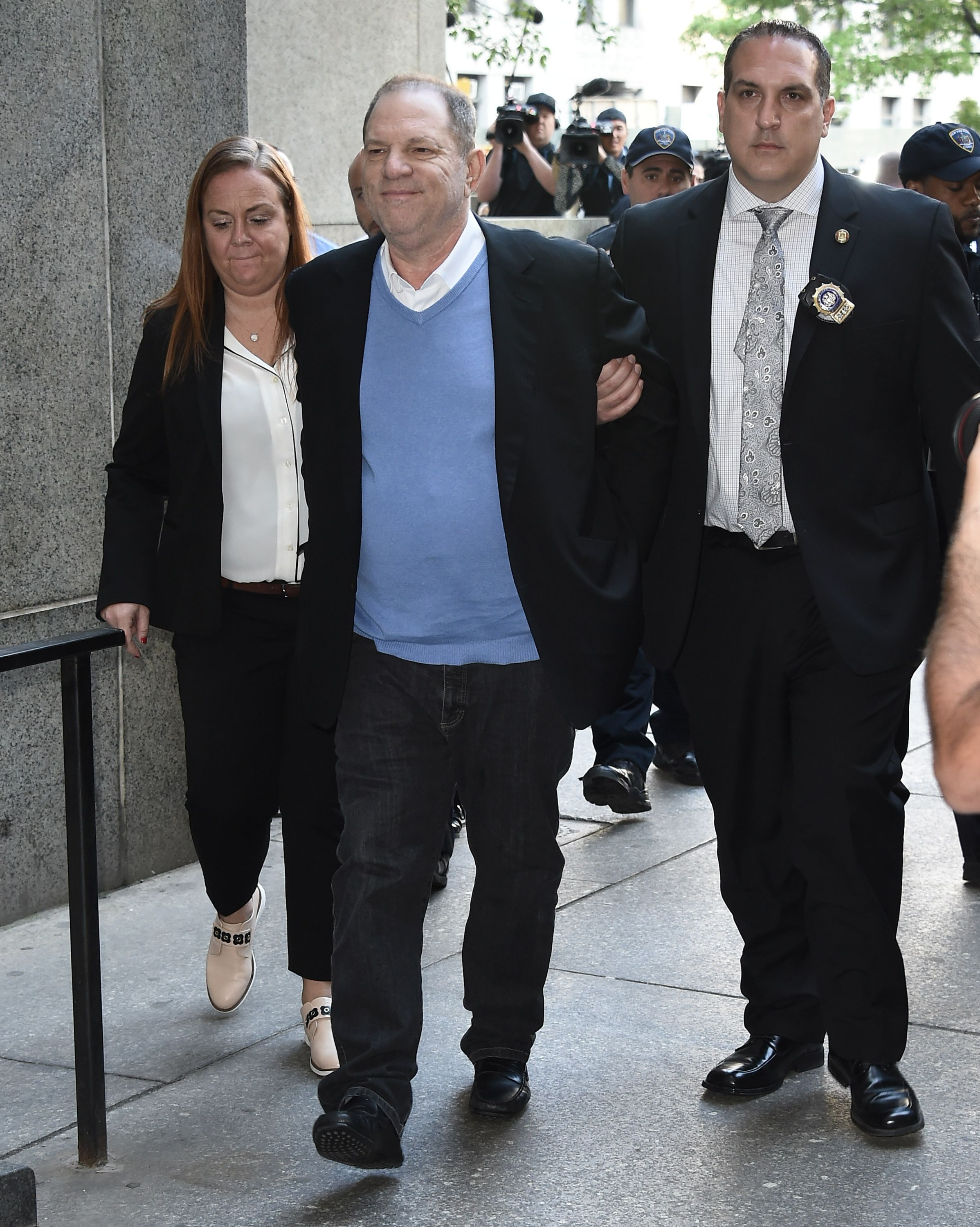 Harvey Weinstein arrives for arraignment on charges of rape and sexual misconduct on May 25, 2018 in New York City.