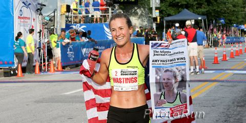 Amy Hastings after the 2014 Peachtree 10K
