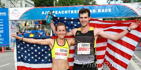 Amy Hastings and Christo Landry after winning the 2014 Peachtree 10K