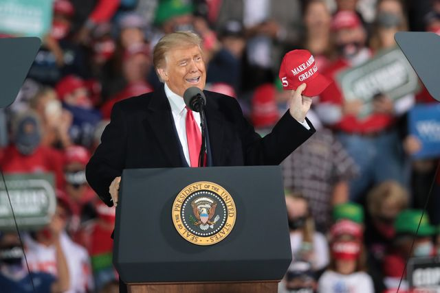 des moines, iowa   october 14 president donald trump speaks to supporters during a rally at the des moines international airport on october 14, 2020 in des moines, iowa according to a recent poll, trump leads former vice president joe biden by 6 points in the state    photo by scott olsongetty images