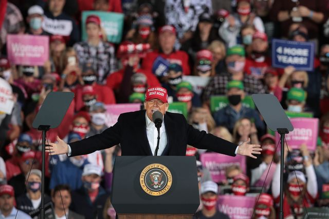 des moines, iowa   october 14 president donald trump speaks to supporters during a rally at the des moines international airport on october 14, 2020 in des moines, iowa according to a recent poll trump leads former vice president joe biden by 6 points in the state    photo by scott olsongetty images