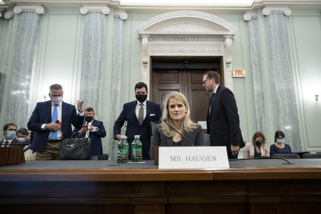 washington, dc   october 05 former facebook employee frances haugen prepares to leave at the end of a senate committee on commerce, science, and transportation hearing entitled 'protecting kids online testimony from a facebook whistleblower' on capitol hill october 5, 2021 in washington, dc haugen left facebook in may and provided internal company documents about facebook to journalists and others, alleging that facebook consistently chooses profit over safety photo by drew angerergetty images