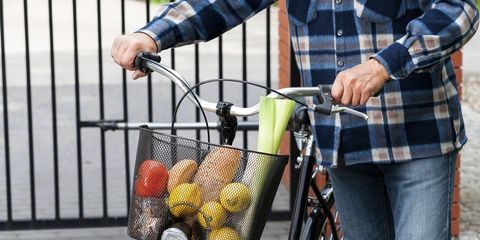 A filled bicycle basket.