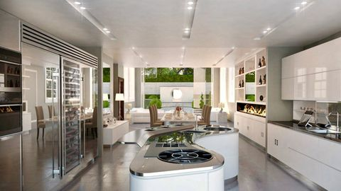 Countertop, Room, Interior design, Ceiling, Property, Cabinetry, Furniture, Kitchen, Building, Lighting,