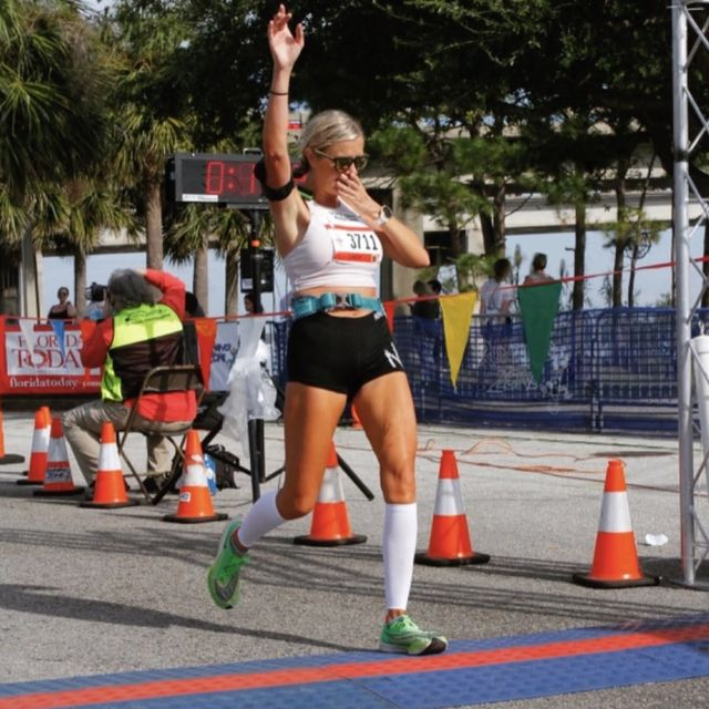 lindsay hawker finishes first marathon after breast cancer