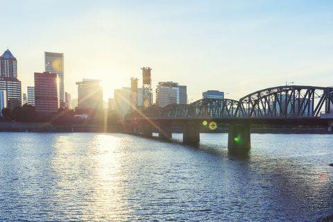 hawthorne bridge in portland during sunset