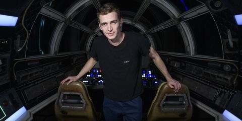 anaheim, ca   october 29  in this handout photo provided by disneyland resort, actor hayden christensen takes over millennium falcon smugglers run during a visit to star wars galaxys edge at disneyland park on october 29, 2019 in anaheim, california  photo by richard harbaughdisneyland resort via getty images