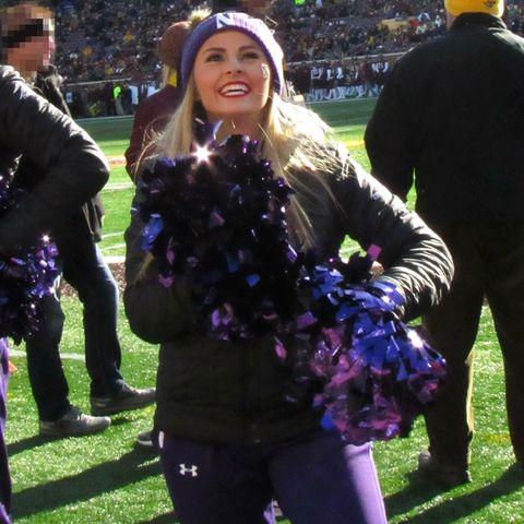 northwestern cheerleader hayden richardson cheering at a football game