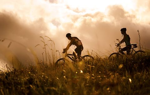 cyclists in a prairie