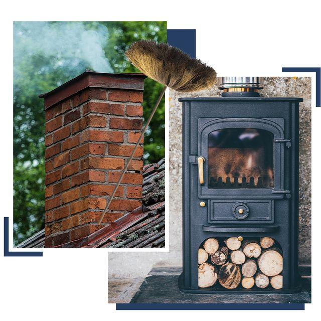 chimney, chimney brush  log burning stove