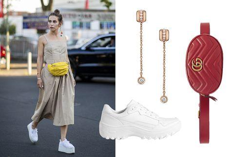 White, Fashion, Pink, Yellow, Street fashion, Dress, Footwear, Waist, Shoulder, Joint,