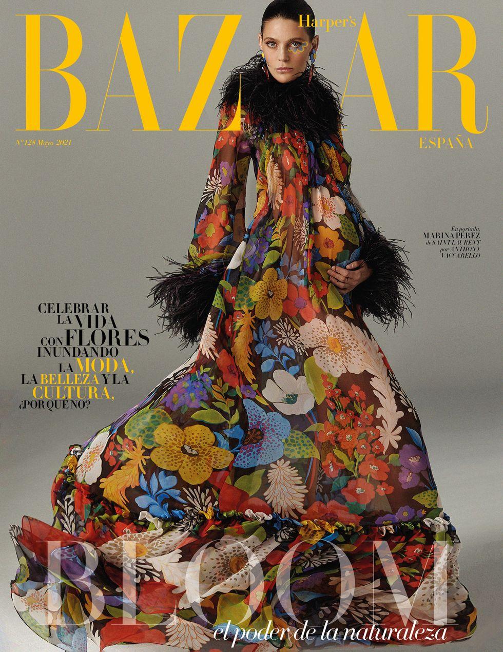 Marina Pérez, embarazada, portada de mayo de Harper's Bazaar