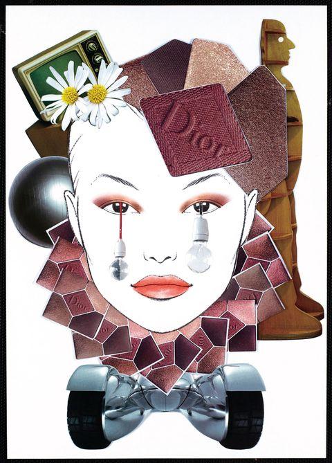 Lip, Cheek, Style, Art, Illustration, Creative arts, Painting, Graphics, Drawing, Hair accessory,