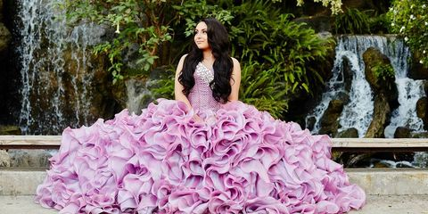 Dress, Clothing, Pink, Gown, Quinceañera, Purple, Fashion, Photo shoot, Spring, Haute couture,