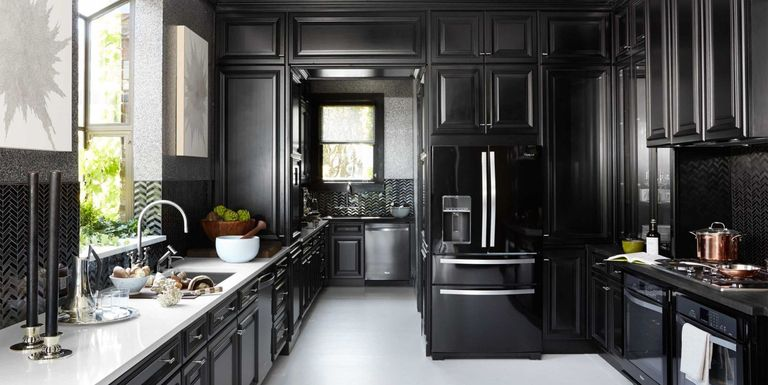 12 black kitchens black cabinet and backsplash ideas for Kitchen designs black