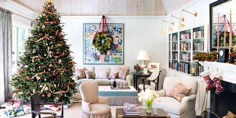 Living room, Christmas tree, Christmas decoration, White, Room, Home, Property, Interior design, Furniture, Tree,