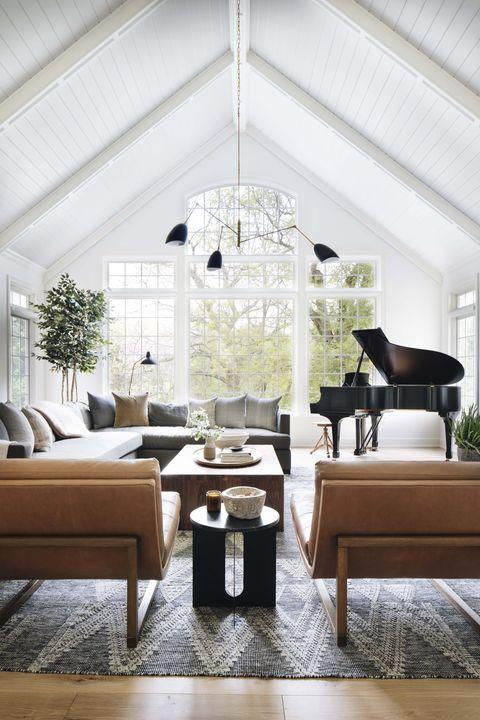 Living room, Room, Interior design, Furniture, Floor, Ceiling, Wall, Lighting, Table, Chandelier,