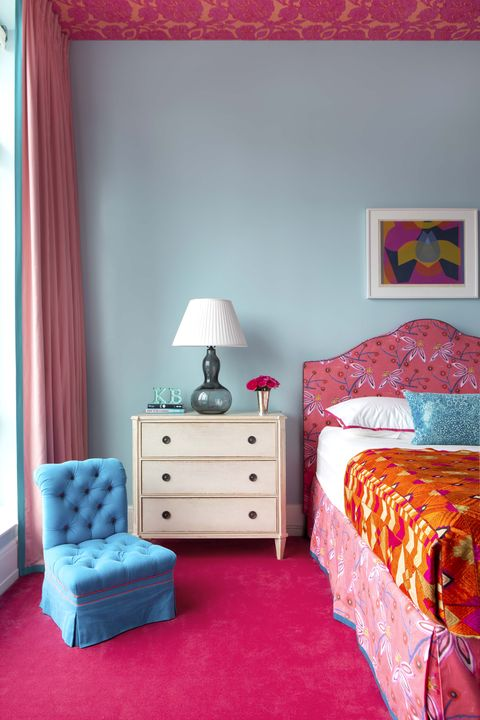 bedroom, furniture, room, bed, bed sheet, pink, nightstand, interior design, chest of drawers, bed frame,