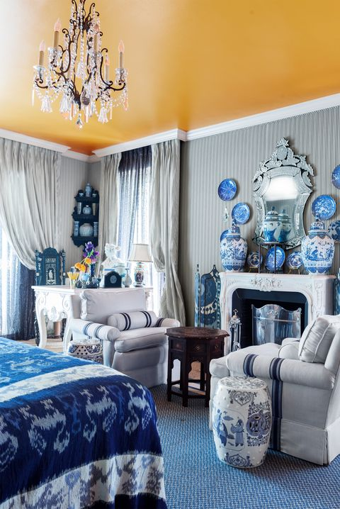 yellow and blue bedroom