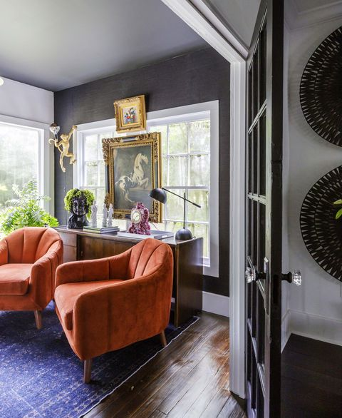 home office, orange chairs