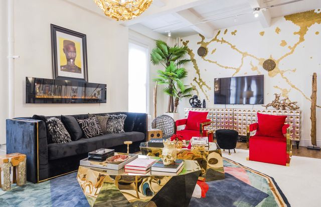red chairs, living room, gold wall