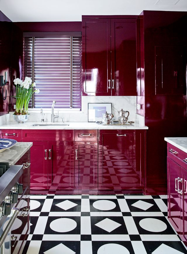tile, room, property, kitchen, floor, interior design, red, cabinetry, furniture, purple,