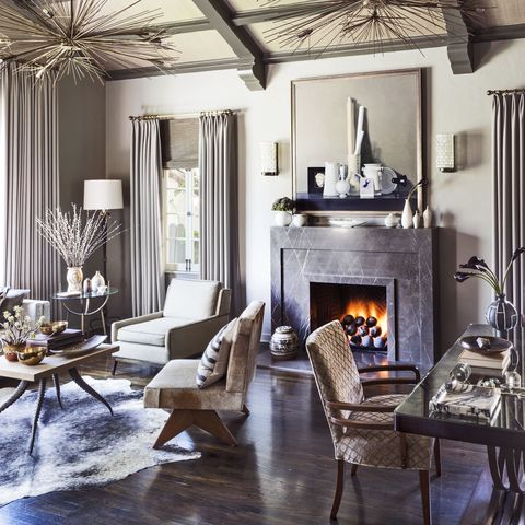 Interior design, Room, Floor, Wood, Living room, Property, Home, Hearth, Table, Furniture,