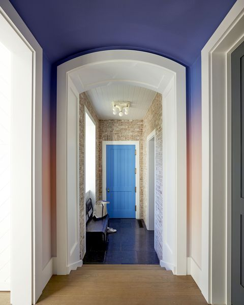 Blue, Ceiling, Room, Property, Building, Architecture, Interior design, Wall, House, Molding,