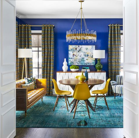 blue, room, yellow, furniture, interior design, dining room, property, turquoise, building, ceiling,