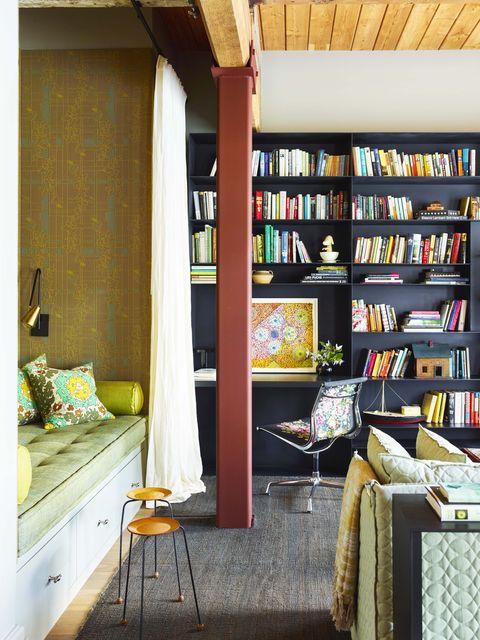Shelf, Room, Shelving, Furniture, Building, Yellow, Interior design, Property, Wall, Home,