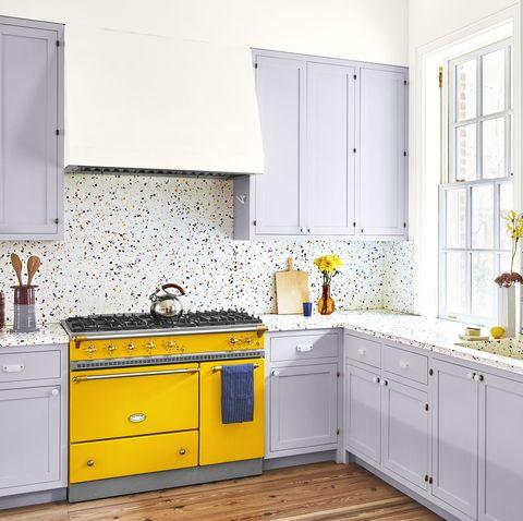 Room, Cabinetry, Countertop, Yellow, Furniture, Kitchen, Property, Interior design, Tile, Floor,