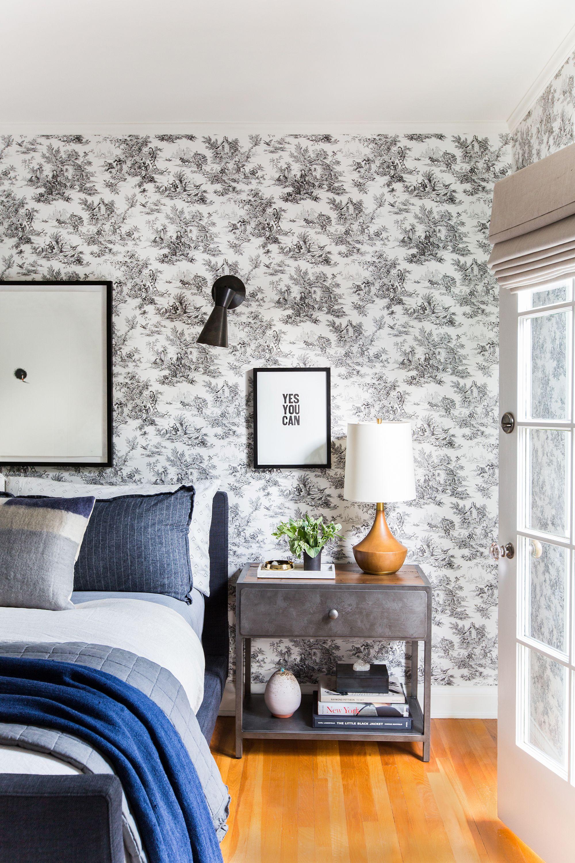 Toile Wallpaper Modern Bedroom