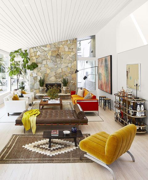 colorful midcentury living room