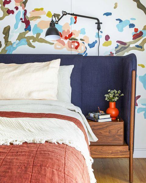 Bedroom, Bedding, Bed, Bed sheet, Room, Furniture, Pillow, Textile, Orange, Interior design,