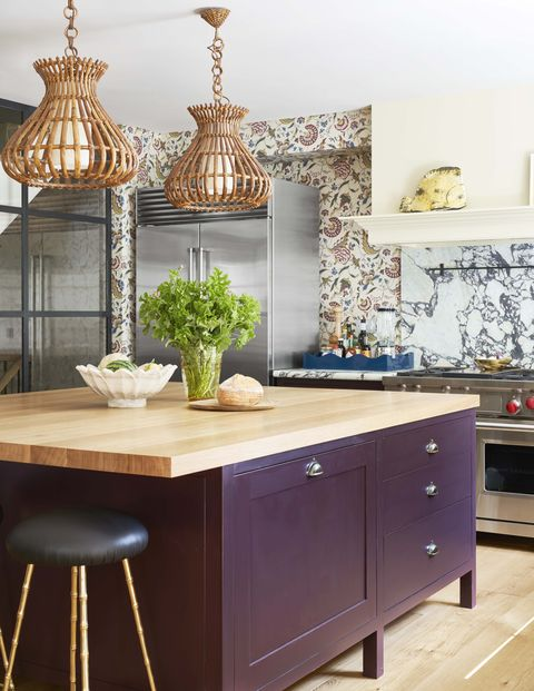 purple and floral kitchen