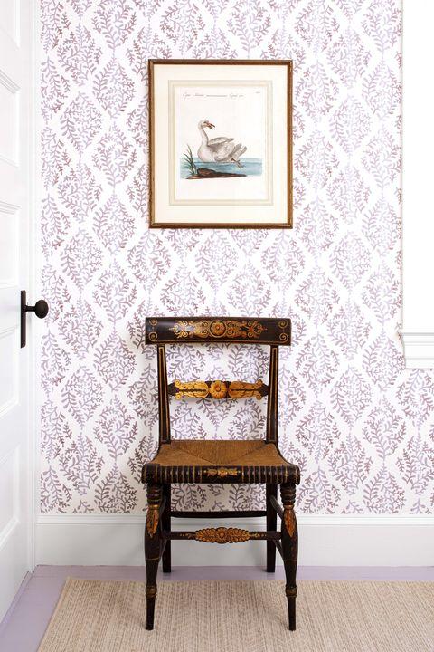 Furniture, Wall, Room, Wallpaper, Table, Interior design, Chair, Picture frame, Interior design, Visual arts,