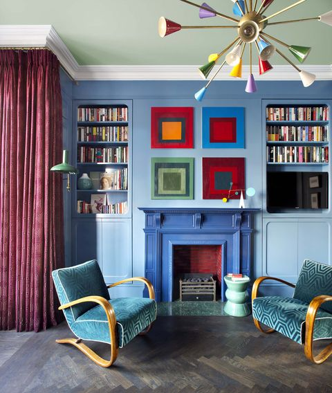 Living room, Room, Blue, Furniture, Shelf, Interior design, Shelving, Turquoise, Ceiling, Bookcase,