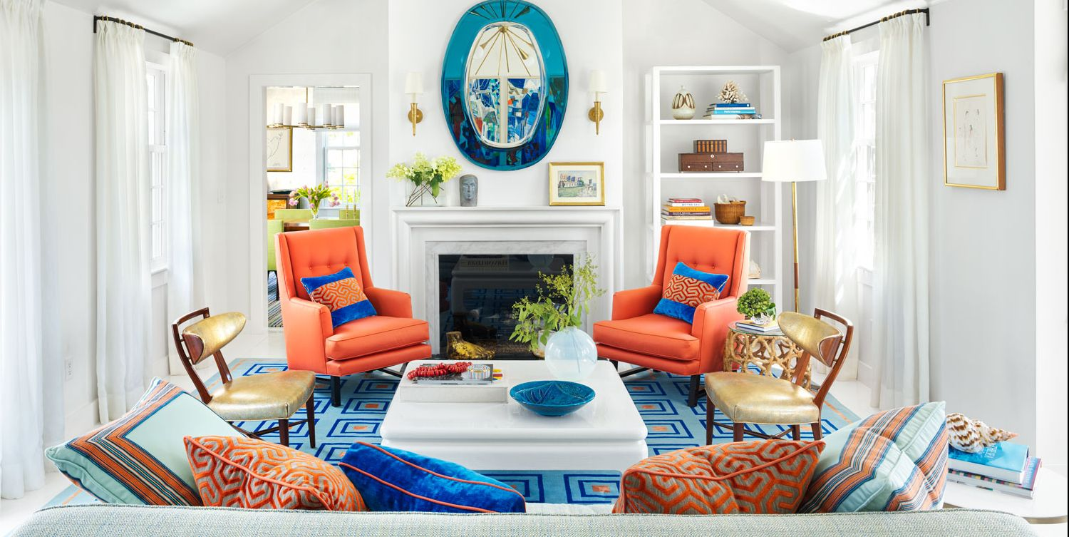 Living Room Decorating Ideas House Beautiful living coral interiors - pantone's color of the year design ideas