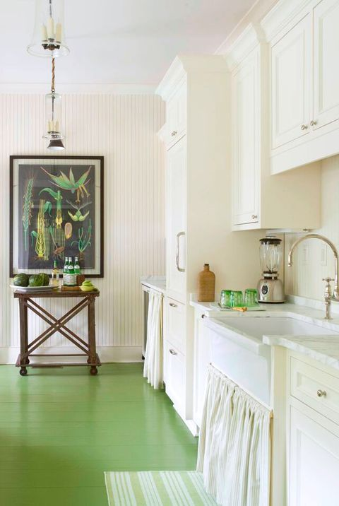 Green French country kitchen