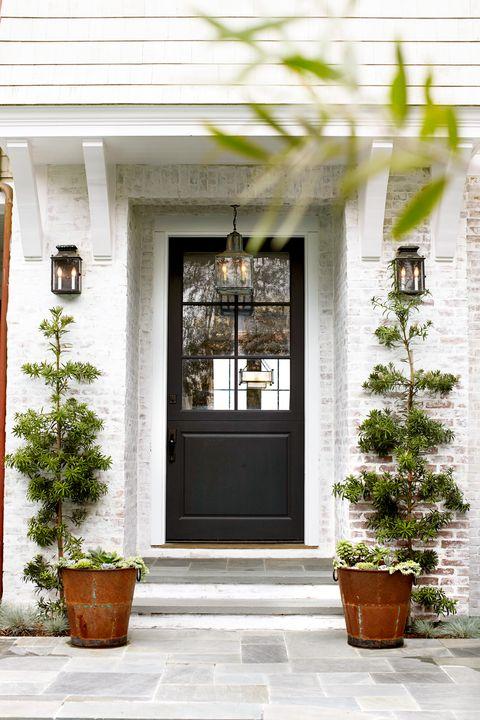 White, Door, Home, Property, House, Building, Porch, Flowerpot, Home door, Wall,