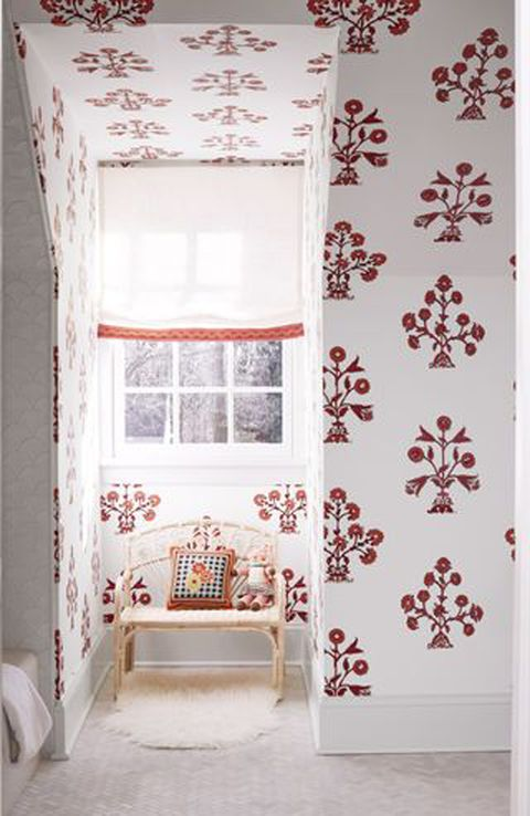 thibaut wallpaper, shade fabric, homegoods bench, marble systems flooring