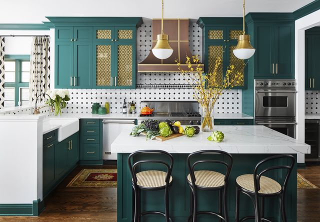 kitchen of the month, green cabinets, white and black back splash