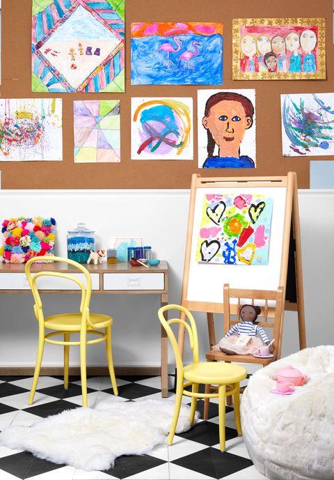 Room, Furniture, Interior design, Child art, Table, Living room, Art, Child, Visual arts,
