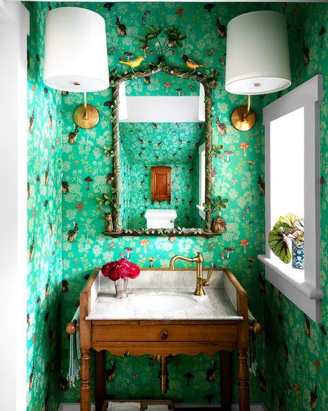Green, Room, Turquoise, Furniture, Interior design, Wallpaper, Bathroom, Table, House,