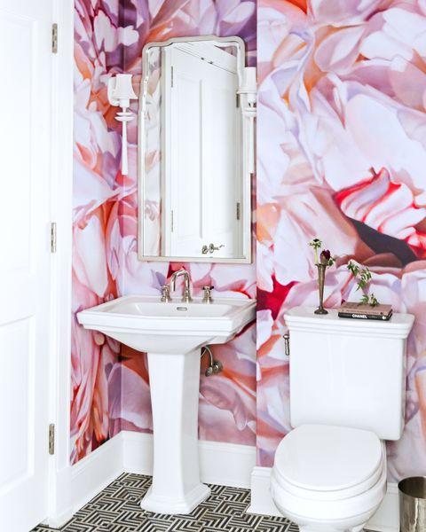 Bathroom, Pink, Room, Toilet, Interior design, Plumbing fixture, Curtain, Material property, Tile, Floor,