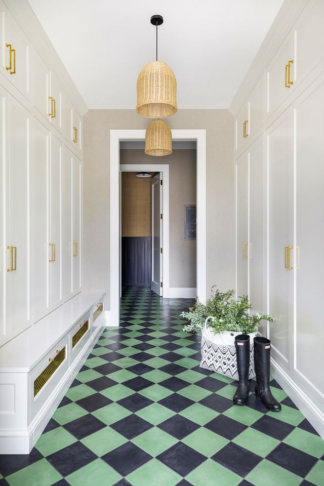 green and white entryway